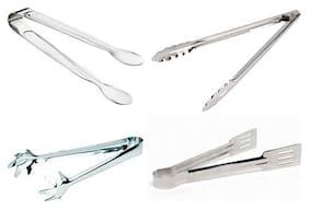 ekitchen Stainless Steel tongs set of 4 (Sugar Tong (T-I A) - 16 cm,Utility Tong (T-I D12) - 30 cm,Ice Tong (T-I G 1) - 19 cm, Sandwich Tong (T-II D) - 23 cm)