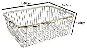 eKitchen Stainless Steel Square Pipe Tokra/Dish Draining Basket Small - (No : 2) / Size - (22.5 * 17.5 * 8.5 inch)