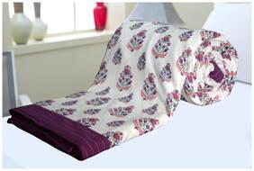 ELAN DREAMS Double Bed AC Dohar Blanket 100% Cotton Multi-Colour Front Leaf & Back Chek (Set of 1) Multicolour Stripe Border