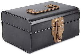 Elan Vintage Style Buxa Metal Trunk, - 8 X 5 1/2 - Antique Black