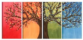 3G ORGANIC Wood Printed Multi Canvas painting ( Set of 4 )