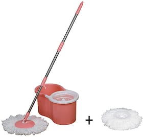 Elegant Pink Spin Plastic Mop with 1 Extra Refill