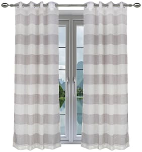 "Elegant Two Toned Shaded Sheer Shower Curtains with Eyelet Rings for Living Room Bedroom Balcony - Light Brown  - Set of 2 Panels - 4.5ft""x8ft"""