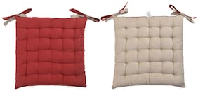 ELLONIA 100% Cotton Red;Beige Color Chair Pad Cushion For Chairs Set of 2