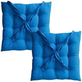 ELLONIA 100% Cotton Blue Color Chair Pad Cushion For Chairs Set of 2