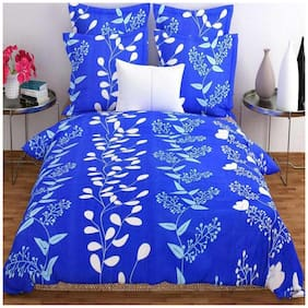 ELLONIA Microfiber 3D Printed Double Size Bedsheet 180 TC ( 1 Bedsheet With 2 Pillow Covers , Blue & White )