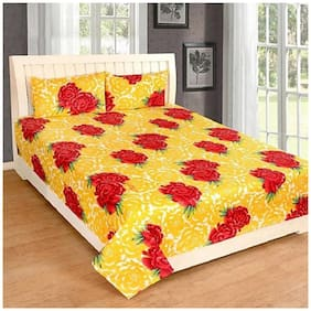 ELLONIA Microfiber Floral Double Size Bedsheet 144 TC ( 1 Bedsheet With 2 Pillow Covers , Yellow )