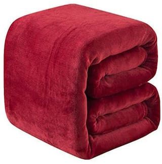 Ellonia All Seasons Light Weight Polar Fleece Single (55X85 Inches) Bed Ac Blanket (Red)