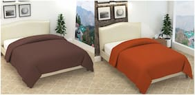 ELLONIA Blanket Combo of Single Bed Orange and Double Bed Brown Polar Fleece For AC Room Solid (Pack of 2)