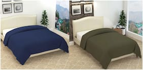 ELLONIA Blanket Combo of Single Bed Green and Double Bed Blue Polar Fleece For AC Room Solid (Pack of 2)