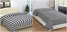 ELLONIA Blanket Combo of Single Bed and Double Bed Black & White Striped Polar Fleece For AC Room Solid (Pack of 2)