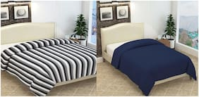 ELLONIA Blanket Combo of Single Bed Blue and Double Bed Black & White Striped Polar Fleece For AC Room Solid (Pack of 2)