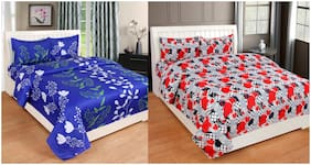 ELLONIA Microfiber 3D Printed Double Size Bedsheet 190 TC ( 2 Bedsheet With 4 Pillow Covers , Multi )