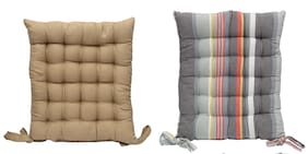 ELLONIA Set of 2 Multicolor Seat & Back Cotton Cushion Pad For Home;Office;Car