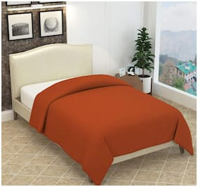 Ellonia Solid Fleece Blanket Suitable For Mild Winter (Orange)-Pack Of 1