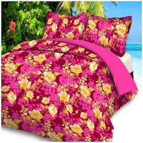 ELLONIA Polyester Floral Double Size Bedsheet 144 TC ( 1 Bedsheet With 2 Pillow Covers , Pink )