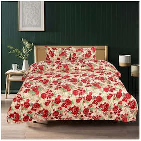 ELLONIA Polyester Floral Double Size Bedsheet 144 TC ( 1 Bedsheet With 2 Pillow Covers , Red )