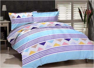 ELLONIA Microfiber Geometric King Size Bedsheet 177 TC ( 1 Bedsheet With 2 Pillow Covers , Multi )