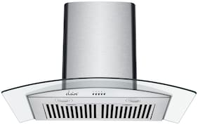 Elsire 60 cm 1150 m3/hr Chimney with Free Installation Kit(Swan 60 with 2 Baffle Filters;Push Button Control;Silver)