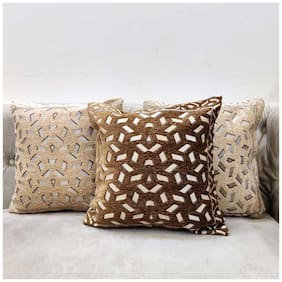 Good Vibes Embroidered Jacquard Square Shape Brown Cushion Cover ( Regular , Pack of 3 )