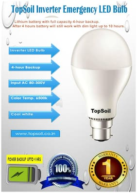 TOPSOIL Emergency LED Bulb 9 W Cool light  Pack of 1