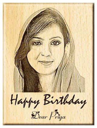 Engraveindia Engraved Wooden Happy Birthday Unique Personalized Gift (5 X 4 inch)