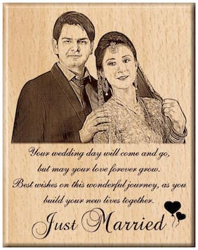 Engraveindia Personalized Unique Wedding Anniversary/Just Married Gift - Wooden Engraved Photo Plaque/Frame (8 inch X 6 inche