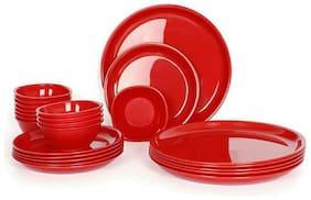 Enoch Microwave Safe Red Color 10 Inch Dinner Set ( Set Of 24)