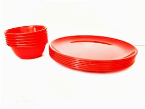 Enoch Microwave Safe Red Color Dinner Plates With Serving Bowl( Set Of 12)