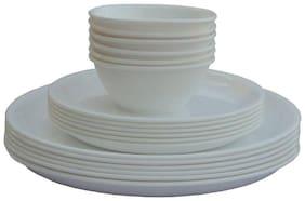 Enoch Microwave Safe White Color Dinner Set( Set Of 18)