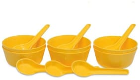 Enoch Microwave Safe Yellow Color Soup Bowl Set ( Set Of 12)