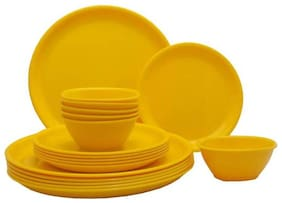 Enoch Microwave Safe Yellow Color 10 Inch Dinner Set ( Set Of 18)