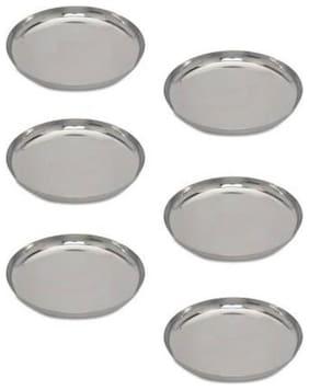 Enoch Stainless Steel Heavy Gauge Plate Set 7 inch Half Plate (6 Half Plate)