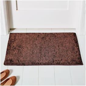 ENYRA Shiny Microfiber Anti-Skid Doormat/Bathmat (40cm x 60cm) Brown, Pack of 1