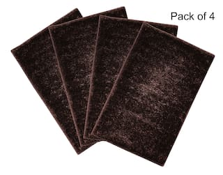 ENYRA Shiny Microfiber Anti-Skid Doormat/Bathmat (40cm x 60cm) Brown, Pack of 4
