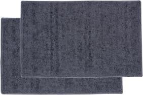 ENYRA Soft Microfiber Anti-Skid Bathmat (40cm x 60cm) Grey, Pack of 2