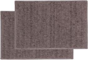 ENYRA Soft Microfiber Anti-Skid Bathmat (40cm x 60cm) Brown, Pack of 2
