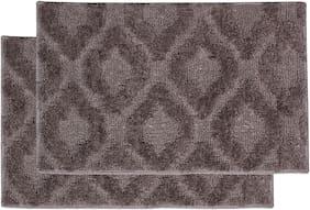 ENYRA Soft Microfiber Anti-Skid Bath Mat (40cm x 60cm)  Beige, Pack of 2