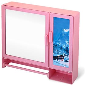 """Epraiser ABS Unbreakable Z-BF 110 Bathroom Mirror Picture Double Door Cabinet With Storage 8 Shelves & Extra outside Towel Rod, Size : 17""""X4""""X16"""""""
