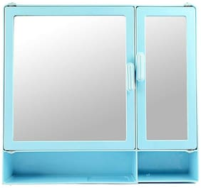 """Epraiser ABS Unbreakable Z-BF 109 Bathroom Double Mirror Double Door Cabinet With Storage 8 Shelves & Extra outside Shelf, Size : 17""""X4""""X16"""""""