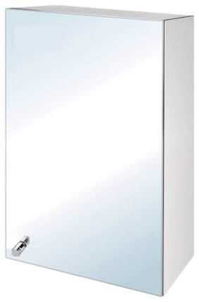 "Epraiser Stainless Steel Z-SS 198 Bathroom Full Mirror Single Door With 4 Storage Chest / Shelves ,16""X5""X10"" Stainless Steel Cabinet"