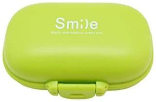 Epyz Multi Purpose 4 Compartment Mini Smile Medicine Pill Storage Box (Green)