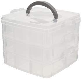 Ergode 3 Layers Detachable DIY Desktop Storage Box Transparent Plastic Storage Box (1 Random color)