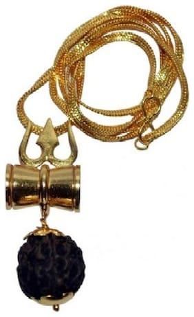 Eshopee Rudraksha Trishul Damru Locket /Pendent -Shiv Shakti Kawach Yantra Locket with gold plated chain