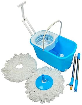 Esquire Classic Spin Mop Set with Pull Handle and Wheels and 2 Microfiber Refills