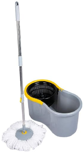 Esquire Elegant Grey 360° Spin Mop Set with Easy Wheels