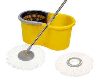 Esquire Elegant Yellow Spin Mop Set with an Additional Refill
