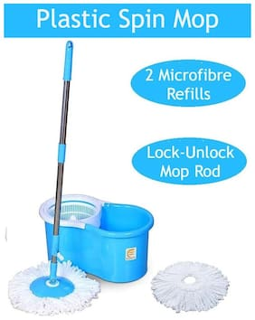 Esquire Elegant Plastic 360° Spin Bucket Mop Set with 1 Extra Refill