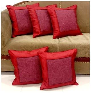Essensa Furnishings Plain Jute Square Shape Red Cushion Cover ( Regular , Pack of 5 )