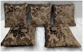 Essensa Furnishings Floral Velvet Square Shape Brown Cushion Cover ( Large , Pack of 5 )